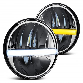 "Lumen® - 7"" Round Black LED Headlights with Switchback DRL Bar"
