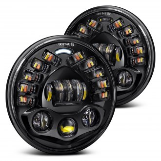 "Lumen® - 7"" Round Black Projector LED Headlights with DRL and Turn Signal"