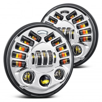 "Lumen® - 7"" Round Chrome Projector LED Headlights with DRL and Turn Signal"
