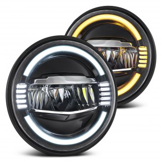 "Lumen® - 7"" Round Black LED Headlights with Switchback Halo"
