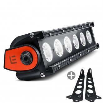 "Lumen® - Hood Mounted 11"" 60W Single Row LED Light Bar with Illuminated End Caps"
