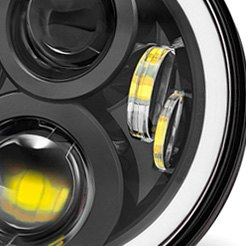 "Lumen® - 7"" Round Projector LED Headlight with Switchback Halo"