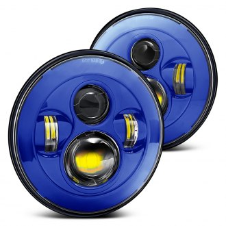 "Lumen® - 7"" Round Blue Projector LED Headlights"