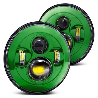 "Lumen® - 7"" Round Green Projector LED Headlights"