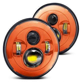 "Lumen® - 7"" Round Orange LED Projector Headlights"