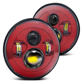 "Lumen® - 7"" Round Red LED Projector Headlights"