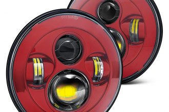 "Lumen® - 7"" Round Red Projector LED Headlights"