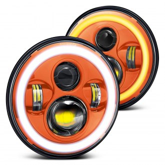 "Lumen® - 7"" Round Orange Projector LED Headlights with Switchback Halo"