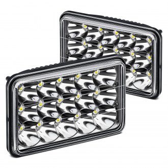 "Lumen® - 4x6"" Rectangular Chrome LED Headlights"