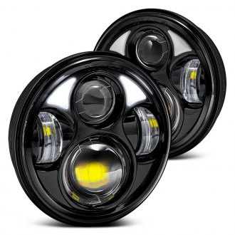"Lumen® - 5 3/4"" Round Black Projector LED Headlights"