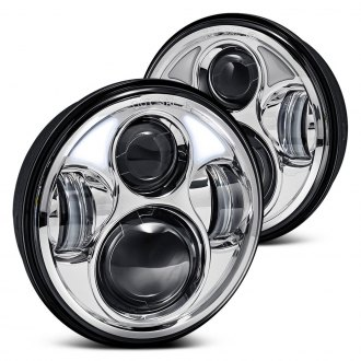 "Lumen® - 5 3/4"" Round Chrome LED Projector Headlights"