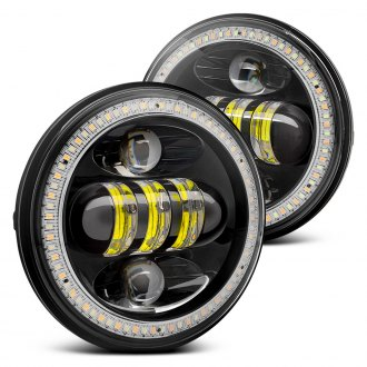 "Lumen® - 5.75"" Round Black Full LED Projector Headlights with Switchback Halo"