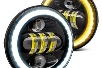 "Lumen® - 5 3/4"" Round Black Projector LED Headlights with Switchback Halo"