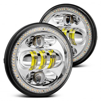 "Lumen® - 5.75"" Round Chrome Full LED Projector Headlights with Switchback Halo"