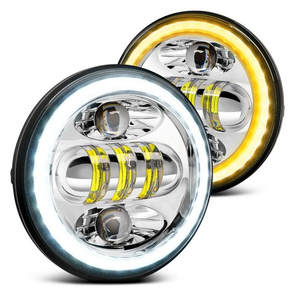 "Lumen® - 5 3/4"" Round Chrome Projector LED Headlights with Switchback Halo"