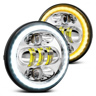 "Lumen® - 5 3/4"" Round Chrome LED Projector Headlights with Cyclone and Switchback Halo"