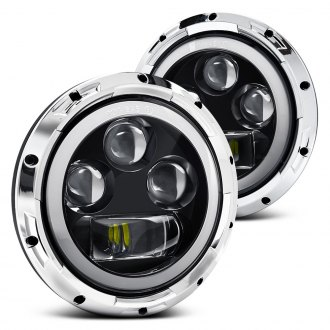 "Lumen® - 7"" Round Chrome Full LED Projector Headlights with Switchback Halo"