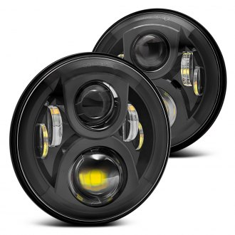 "Lumen® - 7"" Round Black Full LED Projector Headlights"