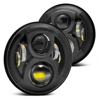 "Lumen® - 7"" Round Black LED Projector Headlights"