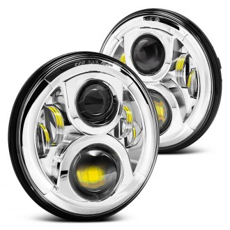 "Lumen® - 7"" Round Chrome Full LED Projector Headlights"