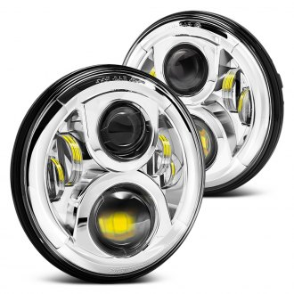 "Lumen® - 7"" Round Chrome LED Projector Headlights"