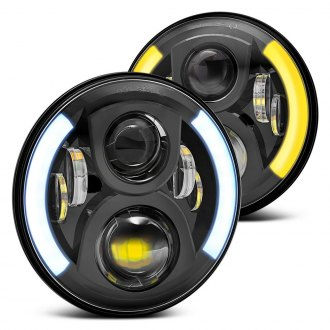 "Lumen® - 7"" Round Black LED Projector Headlights with Switchback Halo"