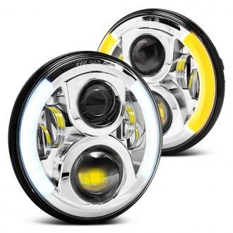 "Lumen® - 7"" Round Chrome Projector LED Headlights with Switchback Halo"