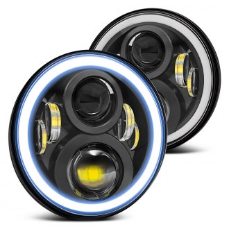 "Lumen® - 7"" Round Black Full LED Projector Headlights with Switchback Halo"