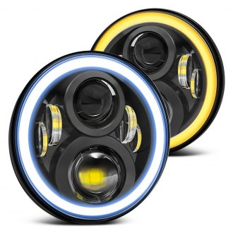 "Lumen® - 7"" Round Black Projector LED Headlights with Switchback Halo"
