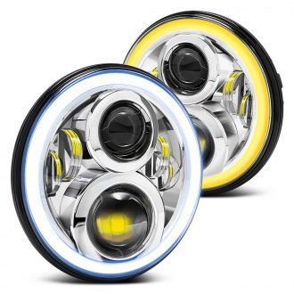 "Lumen® - 7"" Round Chrome LED Projector Headlights with Switchback Halo"