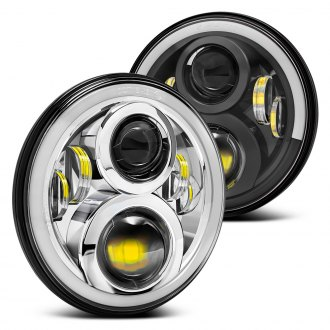 "Lumen® - 7"" Round Full LED Projector Headlights with Switchback Halo"