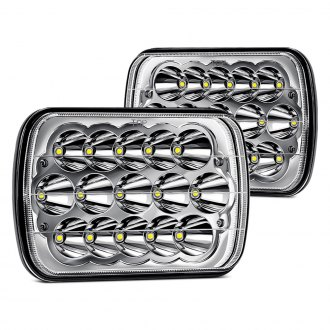 "Lumen® - 7x6"" Rectangular Chrome LED Headlights"
