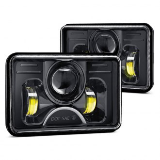 "Lumen® - 4 x 6"" Rectangular Black Full LED Projector Headlights"