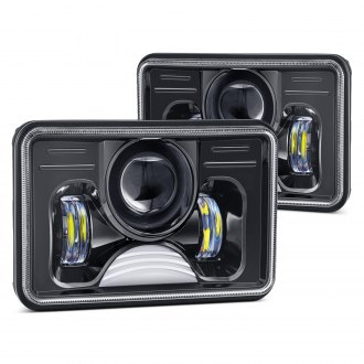 "Lumen® - 4x6"" Rectangular Black Projector LED Headlights"