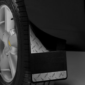 Image may not reflect your exact vehicle! Lund® - 930 Series Rubber Mud Flaps with Diamond Plate