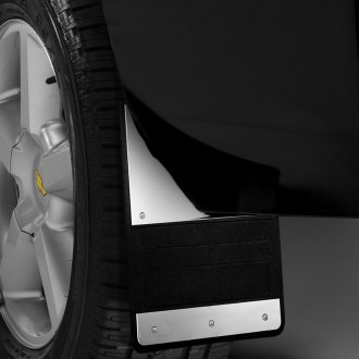 Image may not reflect your exact vehicle! Lund® - 930 Series Rubber Mud Flaps with Polished Plate