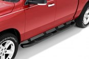 "Image may not reflect your exact vehicle! Lund® - 5"" Composite ABS Black Oval Bent Tube Steps Installed"