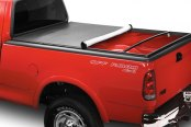 Image may not reflect your exact vehicle! Lund® - Genesis Snap Soft Tonneau Cover, Mid Open