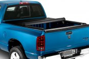 Image may not reflect your exact vehicle! Lund® - Revelation Roll-Up Tonneau Cover, Mid Open