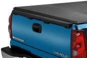 Image may not reflect your exact vehicle! Lund® - Revelation Roll-Up Tonneau Cover, Rear End Detail