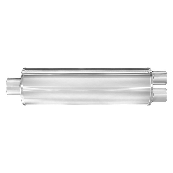 MagnaFlow® - XL Series - Satin Stainless Steel Round Muffler, Center Inlet / Dual Outlet