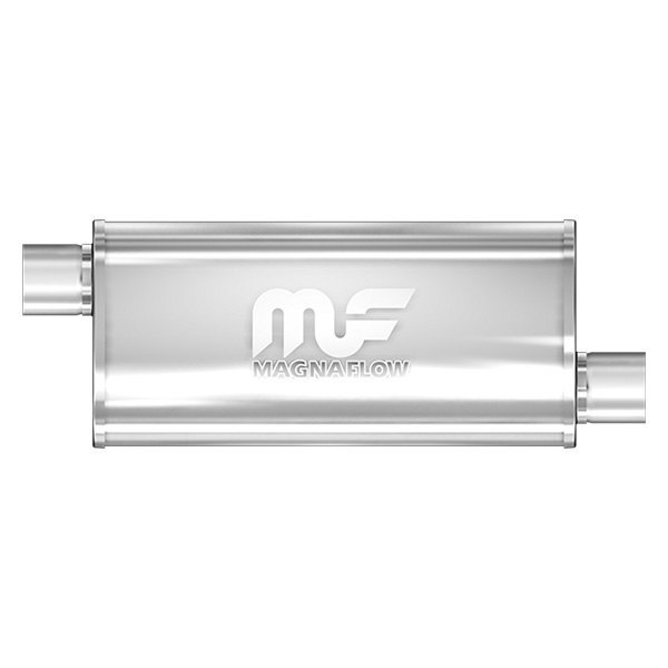 MagnaFlow® - Polished Stainless Steel Oval Muffler, Offset Inlet / Offset Outlet