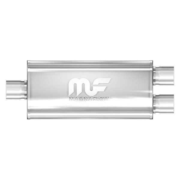 MagnaFlow® - Polished Stainless Steel Oval Muffler, Center Inlet / Dual Outlet