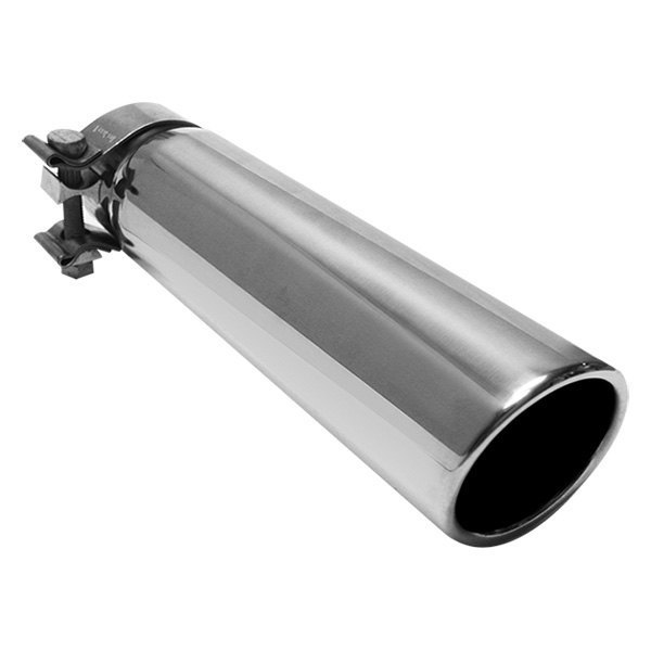 MagnaFlow® - Stainless Steel Round 15 Degree Rolled Edge Angle Cut Single-Wall Polished Exhaust Tip