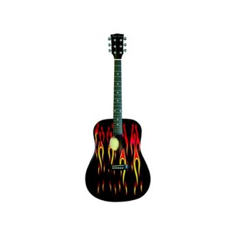 Main Street® - Dreadnought Acoustic Spruce Top Guitar (Black W Flames)