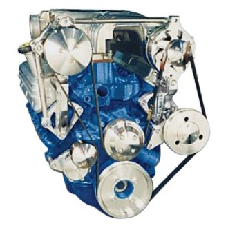 March Performance® - Ultra Street Rod Alternator and A/C with Optional Power Steering Serpentine Pulley and Bracket Kit