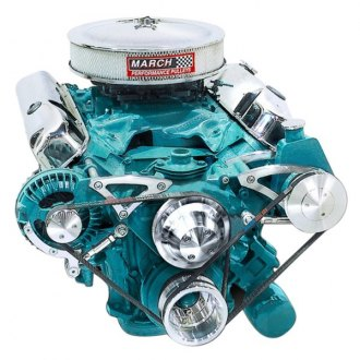 March Performance® - Deluxe Alternator with Optional Power Steering and A/C Serpentine Pulley and Bracket Kit