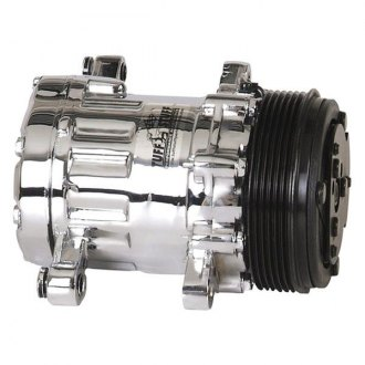 March Performance® - Sanden 7176 Style Chrome A/C Compressor with Serpentine Pulley