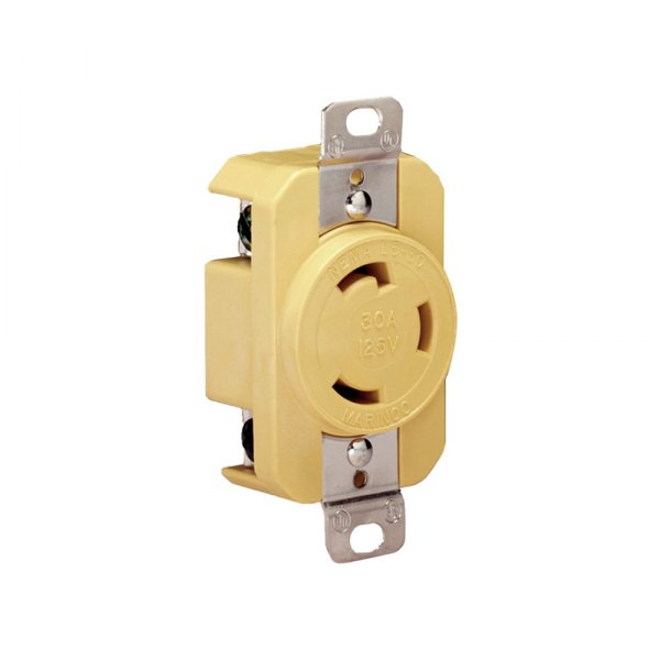Marinco® - 30A 125V Yellow Locking Receptacle