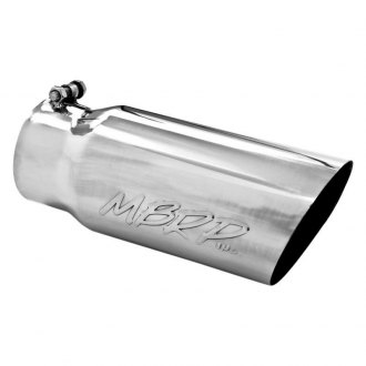 "MBRP® - 304 SS Round Angle Cut Clamp-On Single-Wall Exhaust Tip (4"" Inlet, 5"" Outlet, 12"" Length)"